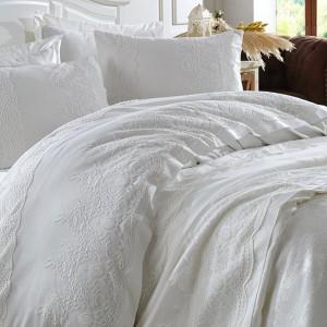Комплект постельное белье с покрывалом Dantela Vita Duru krem