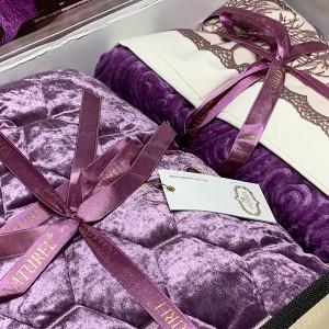 Покрывало с постельным бельем и пледом (10 предметов) ORKIDE  LILAC