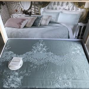 Постельное белье cатин делюкс с вышивкой Melisa mavi (200x220)