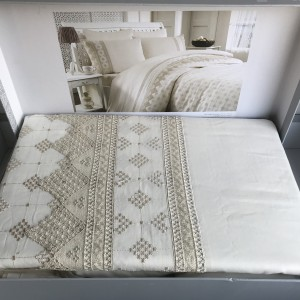 Постельное белье cатин делюкс с вышивкой Perissa krem (200x220)