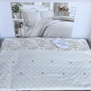 Постельное белье cатин делюкс с вышивкой Aura krem (200x220)