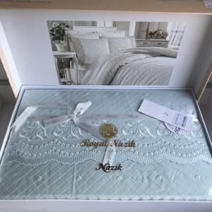 Постельное белье cатин делюкс с вышивкой Aura mavi (200x220)